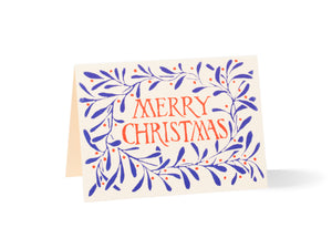 Cambridge Imprint, Blue Wreath Merry Christmas (10 Pack of Cards)