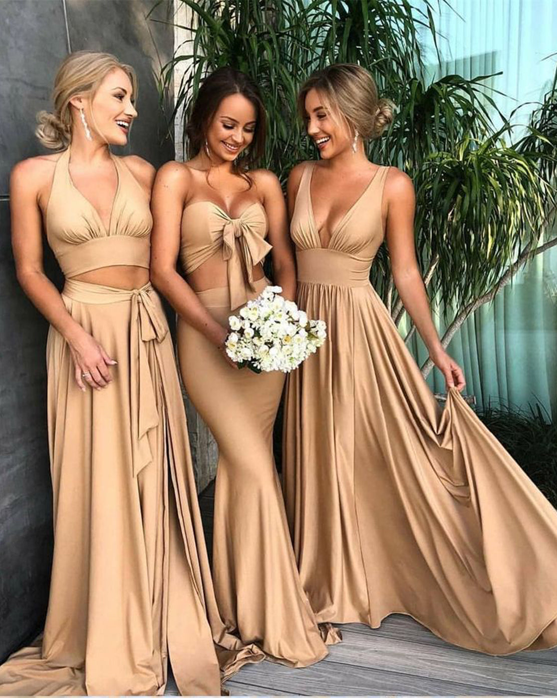 V Neck Lone Bridesmaid Dress Cheap Long Bridesmaid Dress #ER2158