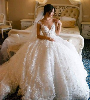 3D Floral Lace Wedding Dresses Vintage Ball Gown Wedding Dress ER2127