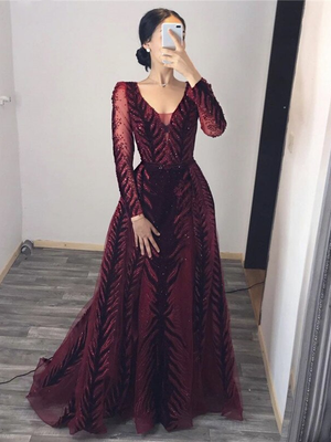 Vintage Burgundy Prom Dress Long Sleeve Sequins Prom Dress ER2054 - OrtDress