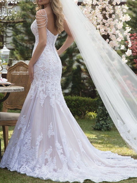 Romantic Mermaid Lace Bride Dress Sexy Wedding Gown with Beads ER2110