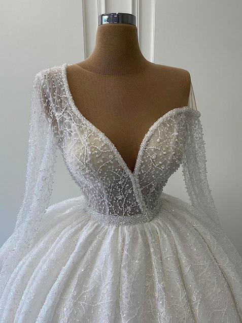 Shining Ball Gown Wedding Dress Sequins Vintage One Shoulder Long Sleeves Wedding Gowns ER2112