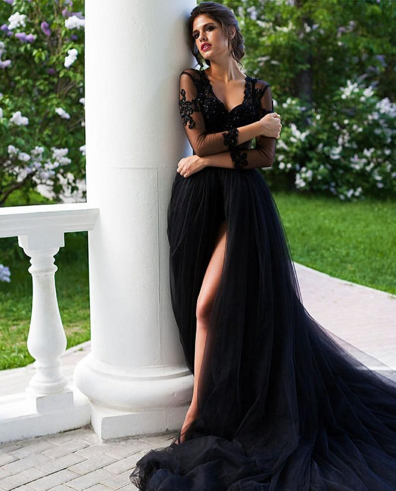 Black Lace Prom Dress V Neck Long Sleeves Evening Party Dress with Train ER2152