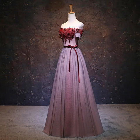 Chic Burgundy Prom Dress Off The Shoulder Cheap Prom Dress #ER142 - OrtDress
