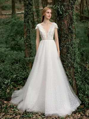 Chic A Line Wedding Dresses Ivory Tulle Beach Wedding Dresses ER2004 - OrtDress