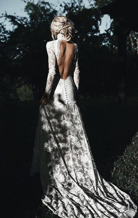 Lace Long Sleeve Wedding Dresses Backless Sheath Wedding Dresses ER2012