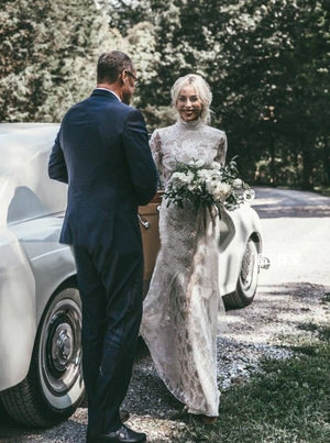 Lace Long Sleeve Wedding Dresses Backless Sheath Wedding Dresses ER2012 - OrtDress