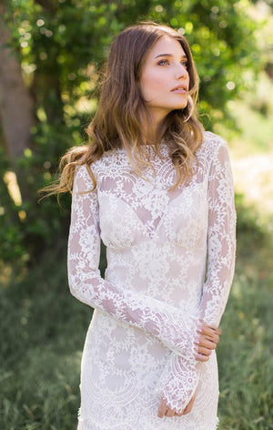 Lace Long Sleeve Wedding Dresses Ivory Sheath Wedding Dresses ER2013 - OrtDress