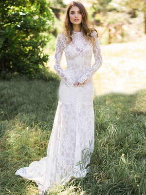 Lace Long Sleeve Wedding Dresses Ivory Sheath Wedding Dresses ER2013