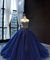 Ball Gown Plus Size Prom Dress Vintage Tulle Royal Blue Quinceanera Dress #ER2014