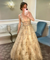 A-Line Gold Sequins Prom Dresses Vintage Cheap Evening Dress ER2016 - OrtDress
