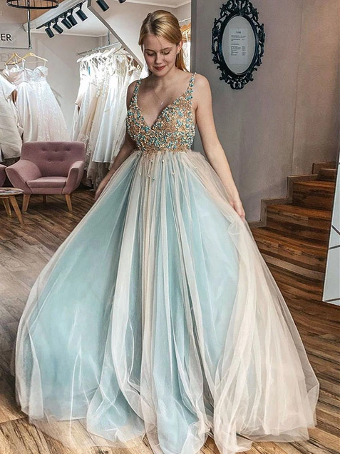 A-Line V Neck Beading Prom Dresses Vintage Tulle Evening Dress ER2017 - OrtDress