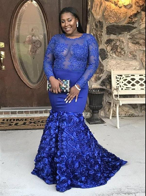 Modern Mermaid Long Sleeve Evening Dress Plus Size Royal Blue Prom Dresses ER2018 - OrtDress