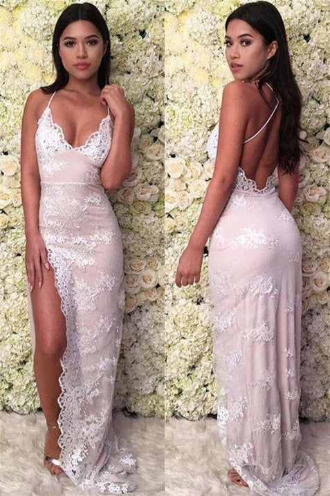 Mermaid Glamorous Spaghetti-Straps Lace Appliques Backless Prom Dresses ER2020 - OrtDress
