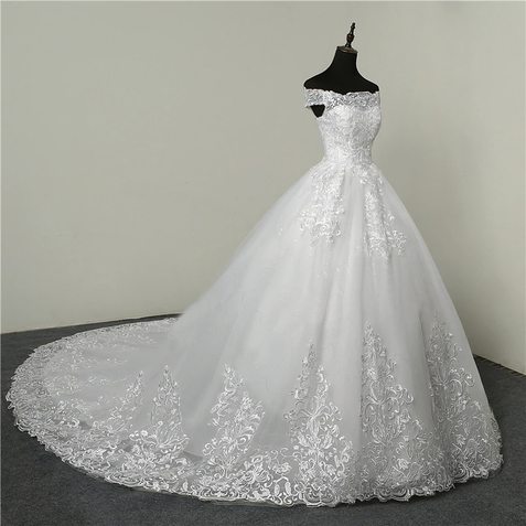 Chic Ball Gown Off The Shoulder White Customed Handmade Wedding Dress ER2057 - OrtDress
