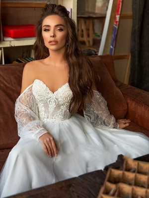 A Line Long Sleeve Wedding Dresses Tulle  Beach Scoop Wedding Dresses ER2059 - OrtDress