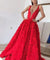 Chic Red Prom Dress Simple Lace Cheap Long Prom Dress #ER128 - OrtDress