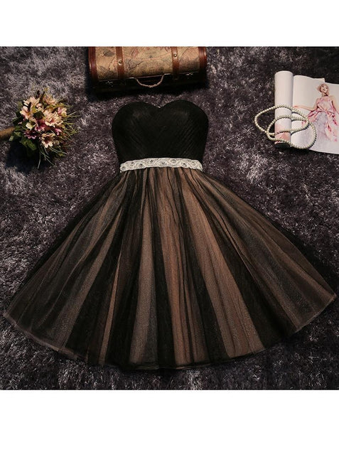 Black Tulle Homecoming Dress Party Cheap Homecoming Dress ER097 - OrtDress