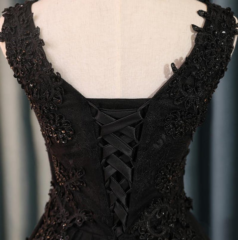 Black Lace Homecoming dress V Neck Cheap Homecoming Dress ER013 - OrtDress