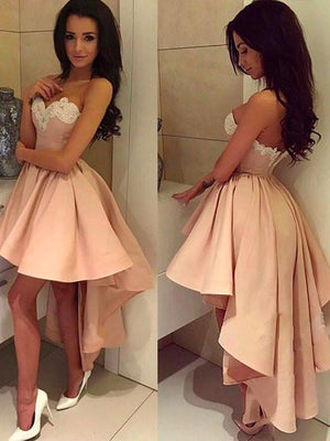 Asymmetrical Pink Homecoming Dress Lace Cheap Party Homecoming Dress ER110 - OrtDress