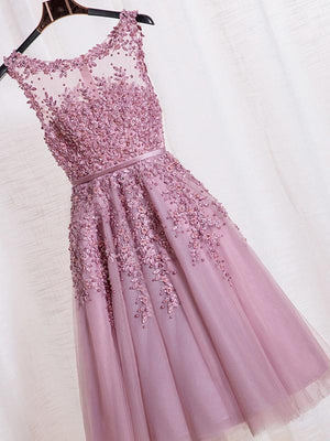 2018 Pink Lace Homecoming dress Simple Cheap Homecoming Dress ER043 - OrtDress