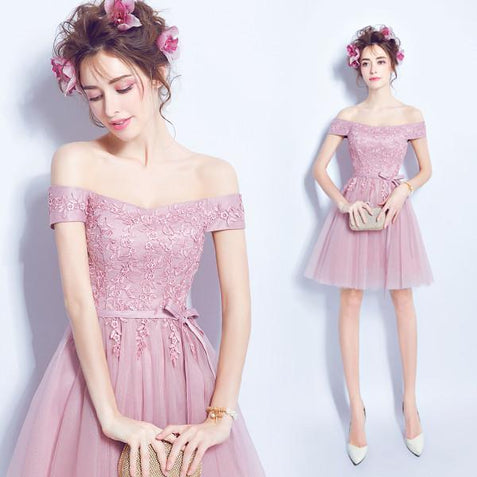 Off The Shoulder Homecoming dress Pink Lace Cheap Homecoming Dress ER011 - OrtDress
