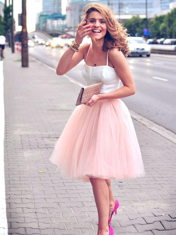 Two Piece Pink Homecoming Dress Cheap Tulle Homecoming Dress ER121 - OrtDress