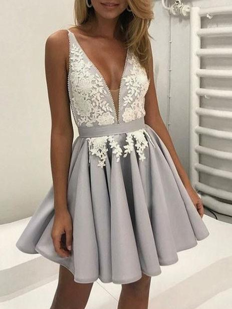 Silver V Neck Homecoming Dress Cheap Party Homecoming Dress ER092 - OrtDress