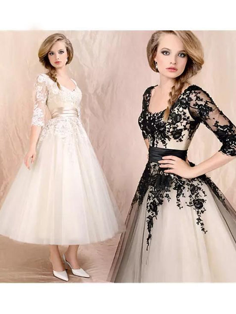 Black Lace Homecoming Dress 3/4 Sleeve Homecoming Dress ER094 - OrtDress