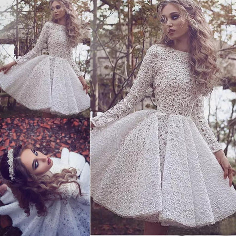 Ivory Lace Homecoming Dress Long Sleeve Homecoming Dress ER118 - OrtDress