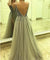 Silver V Neck Prom Dress Tulle Cheap Long Prom Dress #ER009 - OrtDress