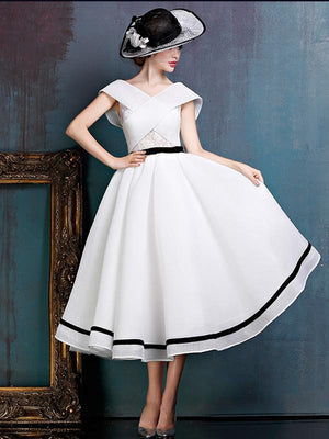 White A Line Homecoming dress Cheap Tulle  Homecoming Dress ER039 - OrtDress