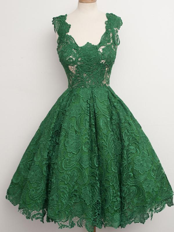 Green Lace Homecoming Dress Cheap Party Homecoming Dress ER122 - OrtDress