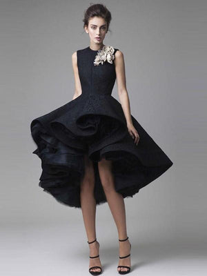 Black Lace Homecoming Dress Asymmetrical Vintage Homecoming Dress ER080 - OrtDress
