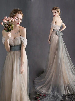 Off The Shoulder Bridesmaid Dress Cheap Long Bridesmaid Dress #ER106 - OrtDress