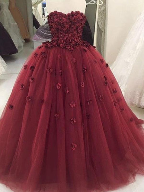 Ball Gown Burgundy Prom Dress Cheap Long Princess Prom Dress #ER036 - OrtDress