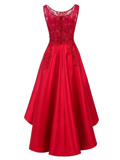 Chic Red Homecoming dress Asymmetrical Lace Homecoming Dress ER076 - OrtDress