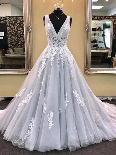 Chic Silver V Neck Prom Dress Lace Cheap Long Prom Dress #ER132 - OrtDress