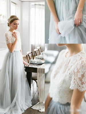2018 Two Piece Prom Dress Ivory Lace Prom Dress #ER065 - OrtDress