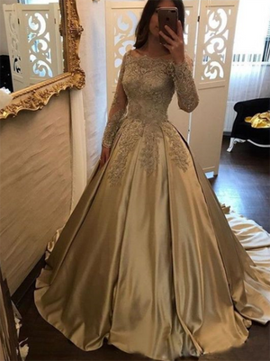 Ball Gown Prom Dress Lone Sleeve Lace Prom Dress #ER024 - OrtDress