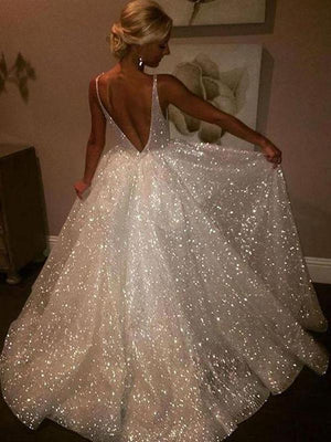 Ivory Sequins V Neck Prom Dress Lace Cheap Long Prom Dress #ER133 - OrtDress