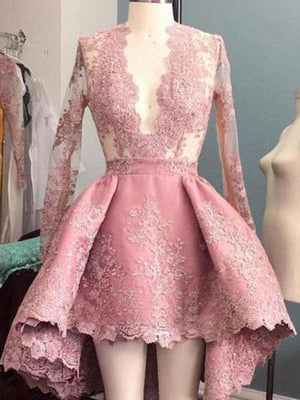 Long Sleeves Homecoming dress Pink Lace Cheap Homecoming Dress ER012 - OrtDress