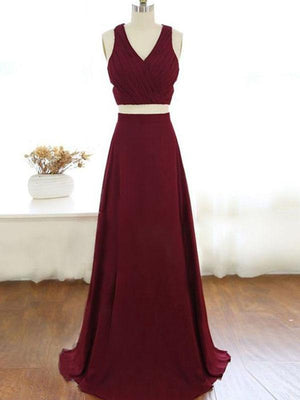 Two Piece Prom Dress Burgundy Cheap Chiffon Prom Dress #ER004 - OrtDress