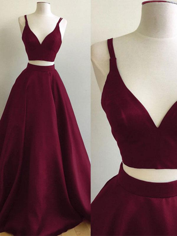 Chic Two Piece Prom Dress Cheap Long Burgundy Prom Dress #ER019 - OrtDress