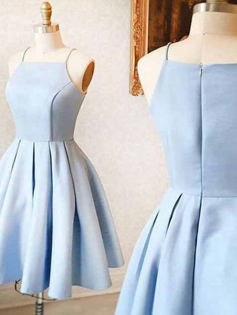 Blue Satin Homecoming Dress Cheap Party Homecoming Dress ER113 - OrtDress