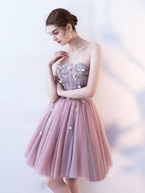 Chic Pink Homecoming Dress Lace Cheap Party Homecoming Dress ER111 - OrtDress