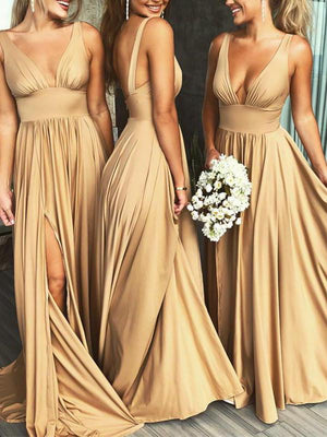 V Neck Lone Bridesmaid Dress Cheap Long Bridesmaid Dress #ER015 - OrtDress