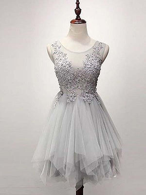 Silver Tulle Homecoming Dress Lace Cheap Party Homecoming Dress ER112 - OrtDress