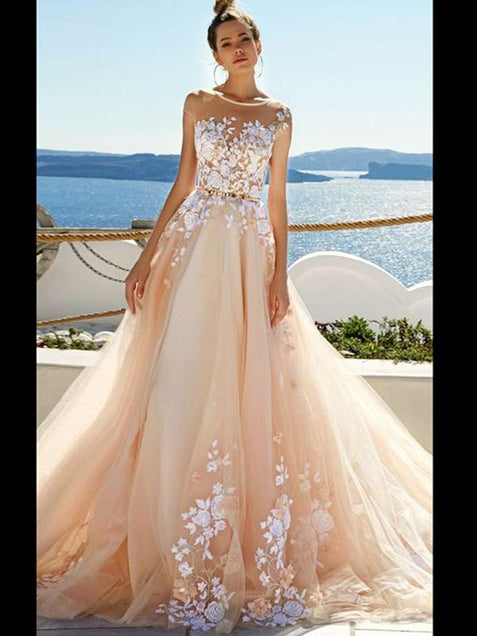 Chic Tulle Wedding Dress Lace Cheap Long Wedding Dress #ER034 - OrtDress