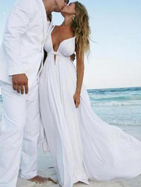 Chiffon Prom Dress White Cheap Long Prom Dress #ER054 - OrtDress